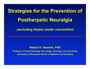 Strategies for the Prevention of Postherpetic Neuralgia - immpact