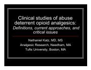 Clinical studies of abuse deterrent opioid analgesics: - immpact