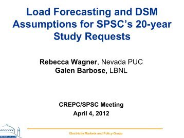 Load Forecasting and DSM Assumptions for SPSC's 20-year Study ...
