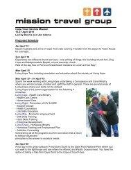 Cape Town Seniors Mission 13-27 April 2013 Led ... - Mission Travel