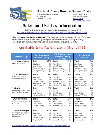 Sales and Use Tax Information - Richland County