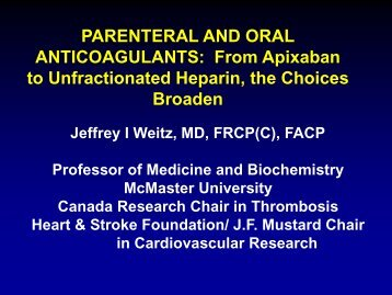 PARENTERAL AND ORAL ANTICOAGULANTS: From Apixaban to ...