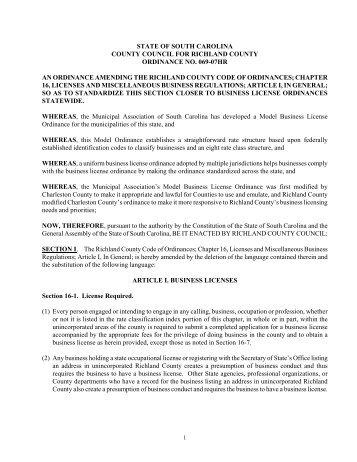 charleston county business license ordinance - Richland County