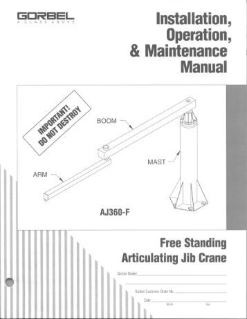 SPANCO T Series Gantry Crane Installation and Parts Manual