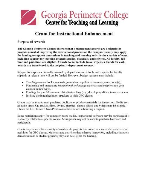Grant for Instructional Enhancement - Georgia Perimeter College