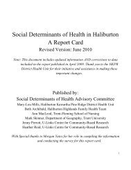 Social Determinants of Health in Haliburton A Report Card