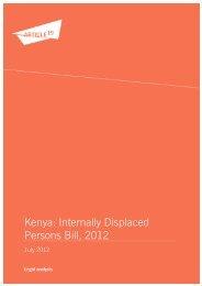 Kenya: Internally Displaced Persons Bill, 2012 - Article 19