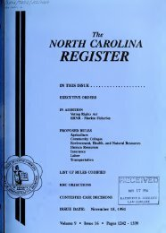 NC Register Volume 9 Issue 16 - Office of Administrative Hearings