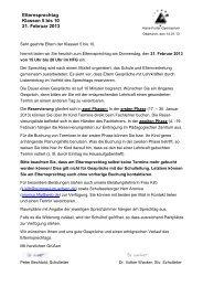 Elternsprechtag Klassen 5 bis 10 21. Februar 2013 - HFG Oberkirch