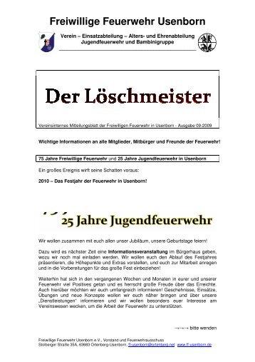 Löschmeister Ausgabe 01/2009 - Freiwillige Feuerwehr Usenborn eV