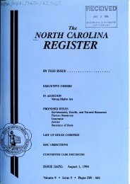 NC Register Volume 9 Issue 09 - Office of Administrative Hearings