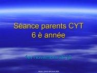 Séance parents CYT 6 è année