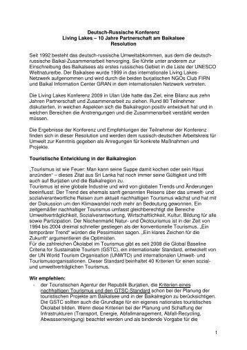 Resolution Konferenz 10 Jahre Partnerschaft am Baikalsee
