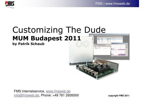 Customizing The Dude - MUM - MikroTik