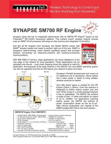 SM700 RF Engine Product Brief - Synapse Wireless