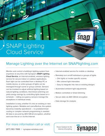 SNAP Lighting Cloud Service Product Brief - Synapse Wireless