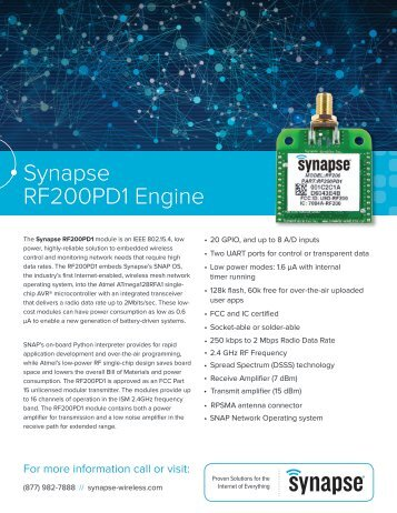 RF200PD1 RF Engine Product Brief - Synapse Wireless
