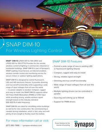 SNAP DIM-10 Product Brief - Synapse Wireless