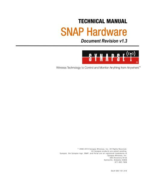 SNAP Hardware Technical Manual - Synapse Support Forums - Synapse