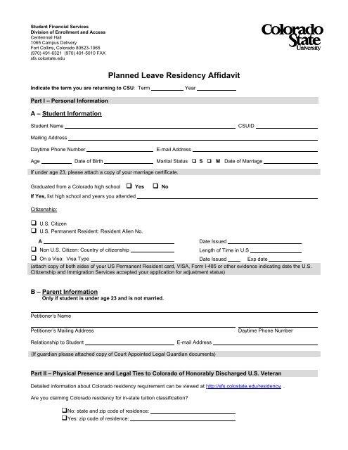 Planned Leave Residency Affidavit - Colorado State University