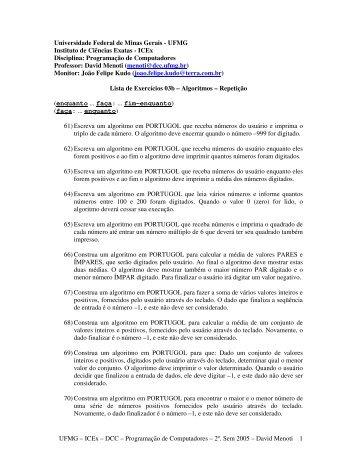 3ª. Lista de Exercícios - UFMG