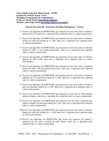 4ª. Lista de Exercícios - DCC/UFMG