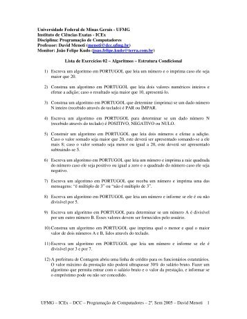 2ª. Lista de Exercícios - UFMG