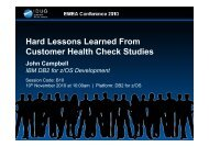 Hard Lessons from Customer DB2 Health Check Studies - neodbug