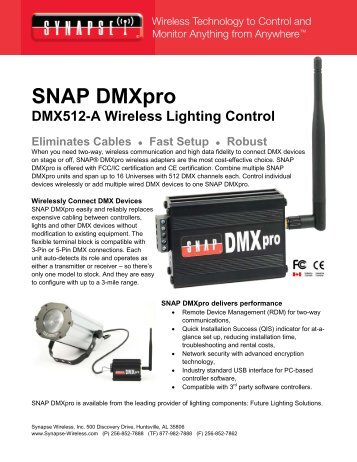 SNAP DMXpro Product Brief - Synapse Wireless