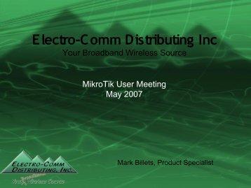 Electro-Comm Distributing Inc - MUM - MikroTik