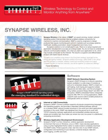 Company Overview - Synapse Wireless