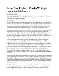 Letter from President Charles W. Steger regarding ... - Virginia Tech