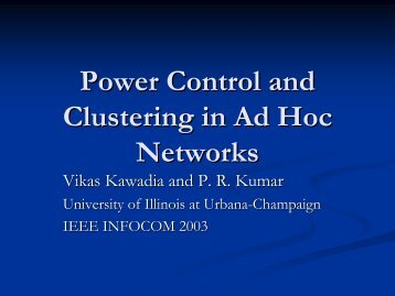 Power Control and Clustering in Ad Hoc Networks