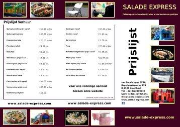 Prijslijst - Salade Express