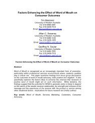 Factors Enhancing the Effect of Word-of-Mouth - CEMI