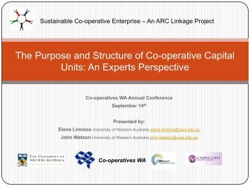 The Purpose and Structure of Co-operative Capital Units - CEMI