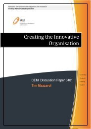 Creating the Innovative Organisation - CEMI