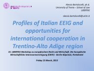 Profiles of Italian EEIG and opportunities for international ...