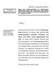 Rede anlässlich des Kulturempfangs in Fürth - Freller, Karl