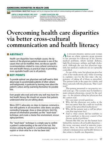 Overcoming health care disparities via better cross-cultural ...