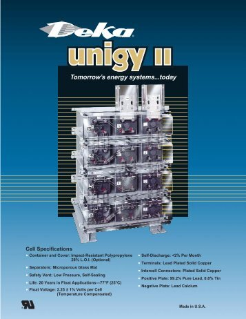 UNIGY II battery specs