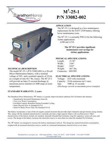 M -25-1 P/N 33082-002 - MarathonNorco Aerospace