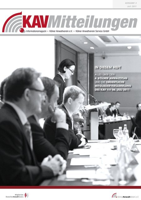 IN DIESEM HEFT - Kölner Anwaltverein - Deutscher Anwaltverein