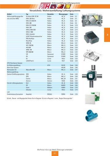 Verzeichnis: Wohnraumlüftung/Lüftungssysteme - Felderer