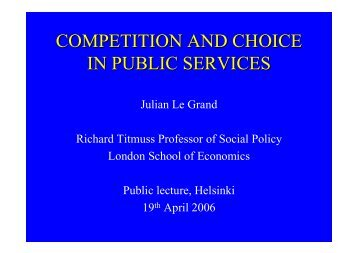 competition and choice in public services - Sosiaalipoliittinen ...