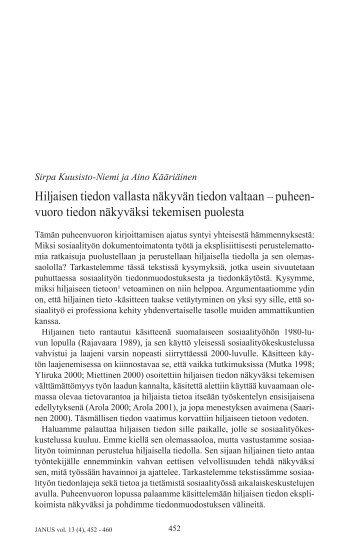 Kuusisto-Niemi, Sirpa & Kääriäinen, Aino - Sosiaalipoliittinen ...