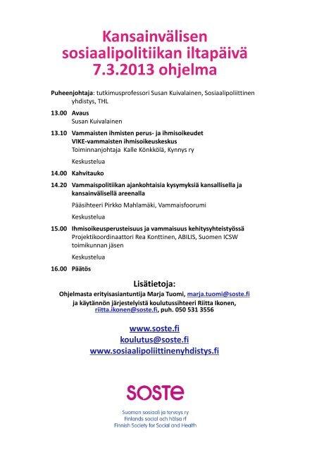 Kansainvälisen sosiaalipolitiikan iltapäivä 7.3.2013