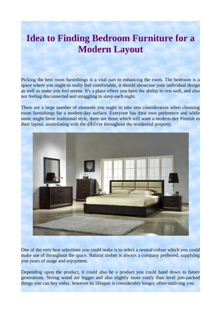 Idea To Finding Bedroom Furniture For A Modern Layout