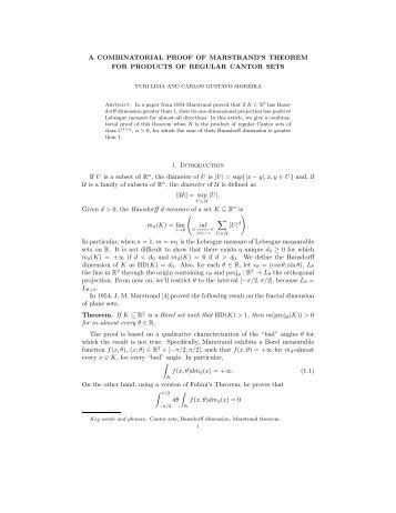 A COMBINATORIAL PROOF OF MARSTRAND'S THEOREM FOR ...