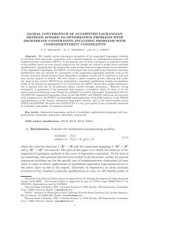 Augmented Lagrangian methods applied to optimization problems ...